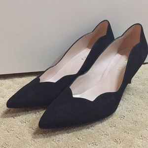 Sesto Meucci black suede scalloped heels
